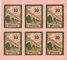 Banknotes Salzburghofen, Gemeinde, billets, 6 x 10 pf 1920