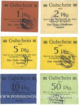 Banknotes Siemianowitz (Siemanowice). Georgshütte. Billets. 1, 2, 5 (ex), 10, 50 pf n.d., avec cachet violet