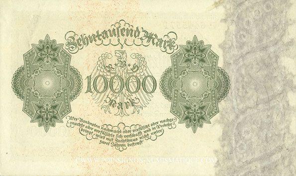 Banknotes Allemagne. Billet. 10 000 mark 19.1.1922, série H