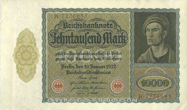 Banknotes Allemagne. Billet. 10 000 mark 19.1.1922, série K