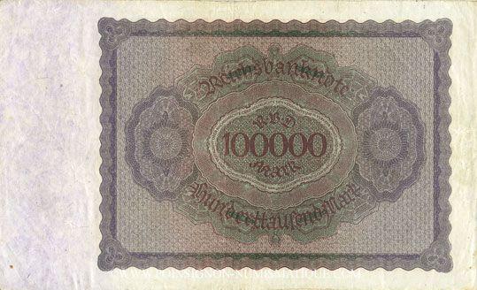 Banknotes Allemagne. Billet. 100 000 mark 1.2.1923. Série A