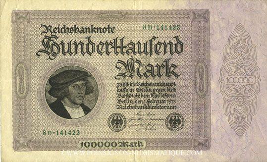Banknotes Allemagne. Billet. 100 000 mark 1.2.1923. Série D