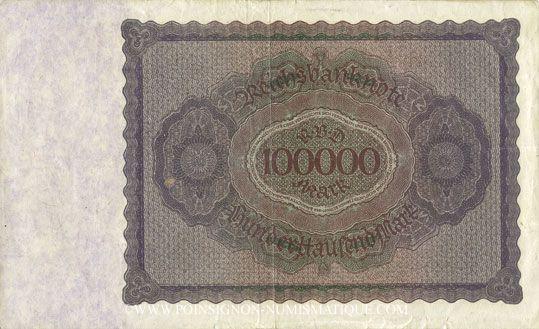 Banknotes Allemagne. Billet. 100 000 mark 1.2.1923. Série E