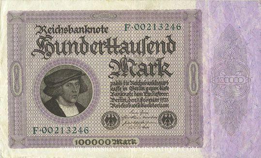 Banknotes Allemagne. Billet. 100 000 mark 1.2.1923. Série F