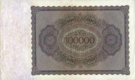Banknotes Allemagne. Billet. 100 000 mark 1.2.1923. Série H