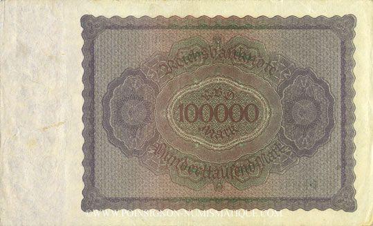 Banknotes Allemagne. Billet. 100 000 mark 1.2.1923. Série K