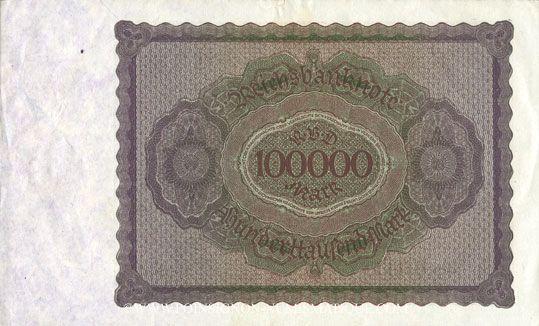 Banknotes Allemagne. Billet. 100 000 mark 1.2.1923. Série M