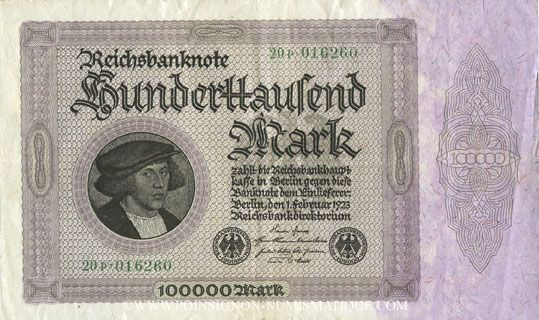 Banknotes Allemagne. Billet. 100 000 mark 1.2.1923. Série P