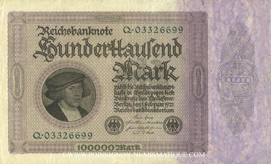 Banknotes Allemagne. Billet. 100 000 mark 1.2.1923. Série Q