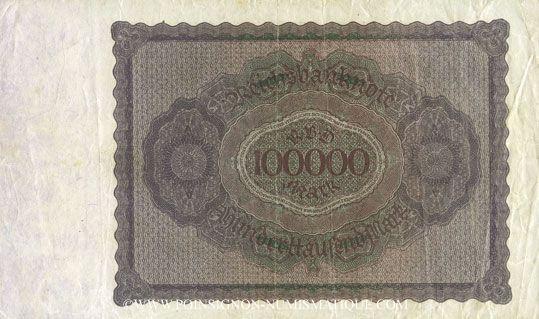 Banknotes Allemagne. Billet. 100 000 mark 1.2.1923. Série T