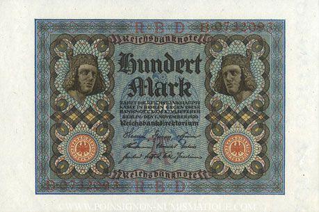 Banknotes Allemagne. Billet. 100 mark 1.11.1920 A, série B