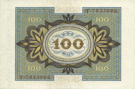 Banknotes Allemagne. Billet. 100 mark 1.11.1920 H, série T