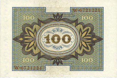 Banknotes Allemagne. Billet. 100 mark 1.11.1920 H, série W