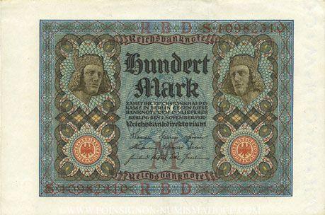 Banknotes Allemagne. Billet. 100 mark 1.11.1920 M, série S