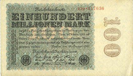 Banknotes Allemagne. Billet. 100 millions de mark 22.8.1923. Série D