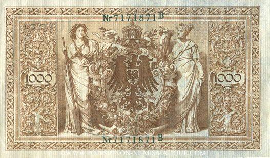 Banknotes Allemagne. Billet. 1000 mark 21.4.1910, cachet vert