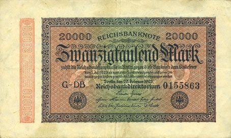Banknotes Allemagne. Billet. 20 000 mark 20.2.1923. Série DB