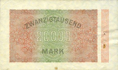 Banknotes Allemagne. Billet. 20 000 mark 20.2.1923. Série MV