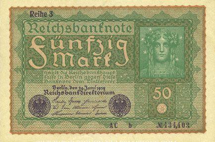 Banknotes Allemagne. Billet. 50 mark 24.6.1919. Série 3