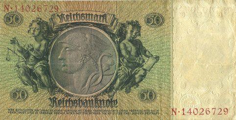 Banknotes Allemagne. Billet. 50 reichsmark 30.3.1933, série C/N