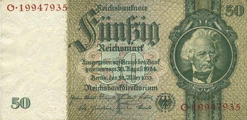 Banknotes Allemagne. Billet. 50 reichsmark 30.3.1933, série F/O