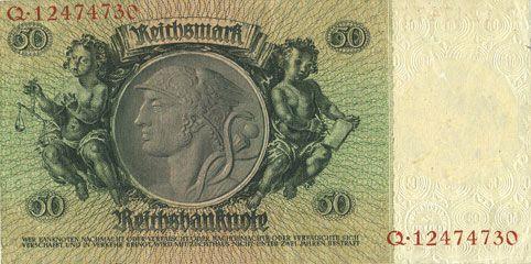 Banknotes Allemagne. Billet. 50 reichsmark 30.3.1933, série F/Q