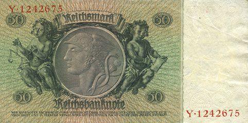 Banknotes Allemagne. Billet. 50 reichsmark 30.3.1933, série I/Y