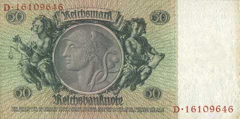 Banknotes Allemagne. Billet. 50 reichsmark 30.3.1933, série K/D