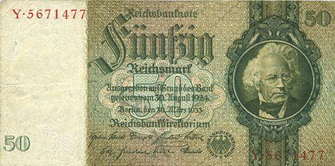 Banknotes Allemagne. Billet. 50 reichsmark 30.3.1933, série X/Y