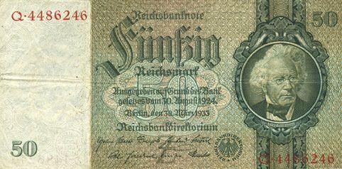 Banknotes Allemagne. Billet. 50 reichsmark 30.3.1933, série Z/Q