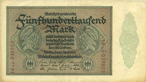 Banknotes Allemagne. Billet. 500 000 mark 1.5.1923. Série AB