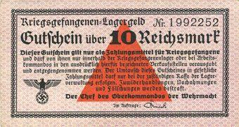 Banknotes Allemagne. Camps allemands de prisonniers de guerre 1939-1945. Billet. 10 mark