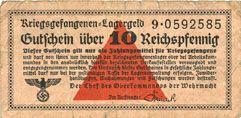 Banknotes Allemagne. Camps allemands de prisonniers de guerre 1939-45. Billet. 10 pfennig