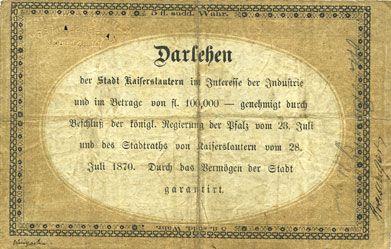 Banknotes Allemagne. Kaiserslautern Stadt. Darlehenscheine. Billet. 5 gulden 31.7.1870