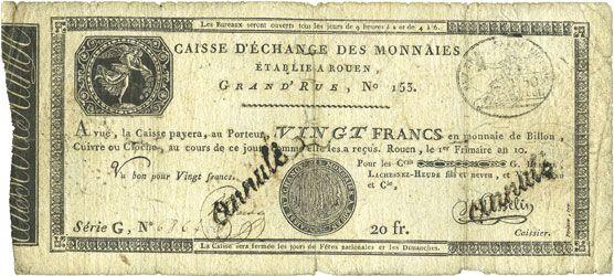 Banknotes Caisse d'Echange de Rouen. Billet. 20 francs an 10 (= 1801-1802)