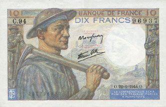 Banknotes Banque de France. Billet. 10 francs mineur, 22.6.1944