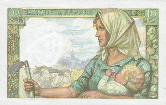 Banknotes Banque de France. Billet. 10 francs mineur 25.3.1943