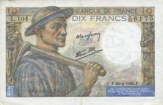 Banknotes Banque de France. Billet. 10 francs mineur, 26.4.1945