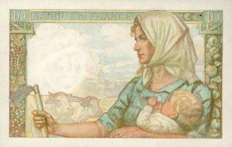 Banknotes Banque de France. Billet. 10 francs mineur, 26.9.1946