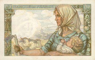 Banknotes Banque de France. Billet. 10 francs mineur, 4.12.1947
