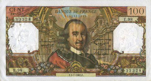 Banknotes Banque de France. Billet. 100 francs, Corneille, 1.7.1965