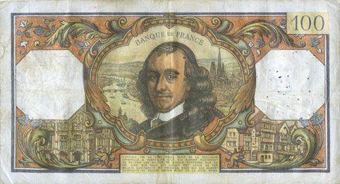 Banknotes Banque de France. Billet. 100 francs, Corneille, 1.7.1971