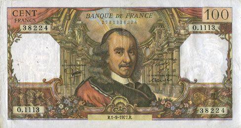 Banknotes Banque de France. Billet. 100 francs, Corneille, 1.9.1977