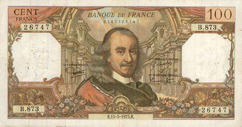Banknotes Banque de France. Billet. 100 francs, Corneille, 15.5.1975