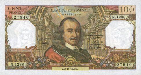 Banknotes Banque de France. Billet. 100 francs, Corneille, 2.11.1978