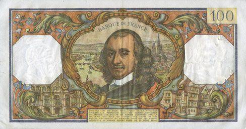 Banknotes Banque de France. Billet. 100 francs, Corneille, 2.12.1965