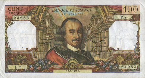 Banknotes Banque de France. Billet. 100 francs, Corneille, 2.4.1964