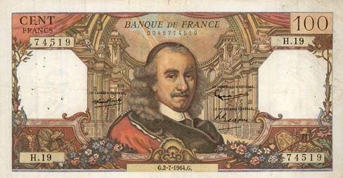 Banknotes Banque de France. Billet. 100 francs, Corneille, 2.7.1964