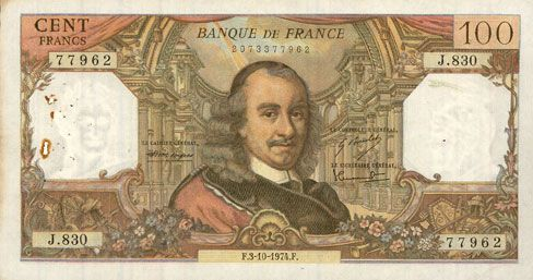 Banknotes Banque de France. Billet. 100 francs, Corneille, 3.10.1974