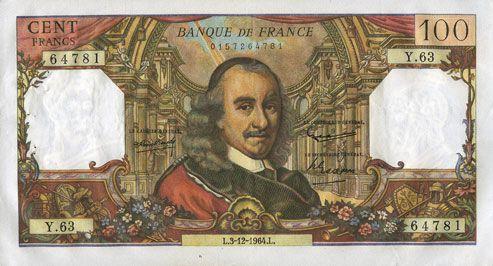 Banknotes Banque de France. Billet. 100 francs, Corneille, 3.12.1964